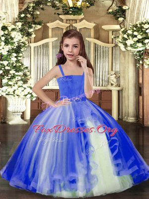 Excellent Blue Custom Made Pageant Dress Party and Sweet 16 and Wedding Party with Beading Straps Sleeveless Lace Up