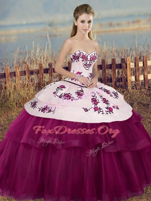Glamorous Fuchsia Sleeveless Floor Length Embroidery and Bowknot Lace Up Vestidos de Quinceanera