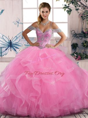 Glorious Rose Pink Tulle Lace Up Off The Shoulder Sleeveless Floor Length Sweet 16 Dress Beading and Ruffles