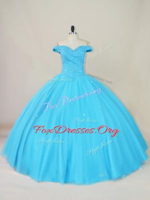 Unique Floor Length Ball Gowns Sleeveless Blue Quinceanera Gowns Lace Up