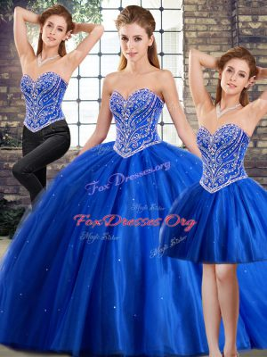 Unique Blue Tulle Lace Up Vestidos de Quinceanera Sleeveless Brush Train Beading
