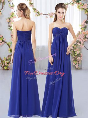 Unique Ruching Quinceanera Court of Honor Dress Royal Blue Zipper Sleeveless Floor Length