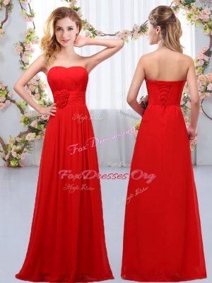 Flirting Sweetheart Sleeveless Lace Up Vestidos de Damas Red Chiffon