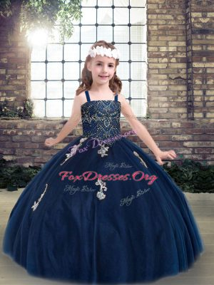 Customized Tulle Straps Sleeveless Lace Up Appliques Kids Formal Wear in Navy Blue