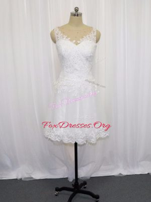 Sleeveless Zipper Mini Length Beading and Lace Bridal Gown