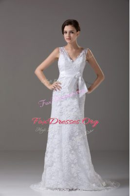 Custom Made Sleeveless Brush Train Lace and Belt Backless Wedding Gown
