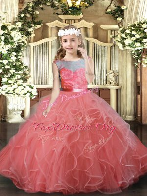 Pretty Watermelon Red Ball Gowns Tulle Scoop Sleeveless Lace and Ruffles Floor Length Backless Pageant Dress for Womens