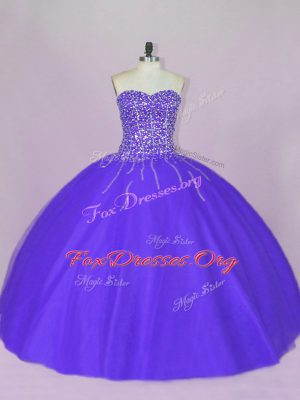Popular Sweetheart Sleeveless Lace Up Quince Ball Gowns Blue and Purple Tulle