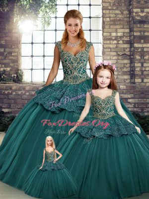 Edgy Green Ball Gowns Beading and Appliques 15th Birthday Dress Lace Up Tulle Sleeveless Floor Length