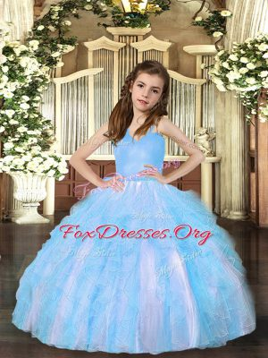 Aqua Blue Ball Gowns Tulle Straps Sleeveless Ruffles Floor Length Lace Up Winning Pageant Gowns