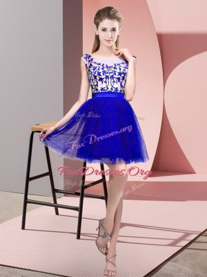 Blue Tulle Zipper Bateau Sleeveless Mini Length Court Dresses for Sweet 16 Lace