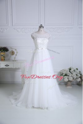 Tulle Scoop Cap Sleeves Brush Train Lace Up Beading and Belt Wedding Gowns in White