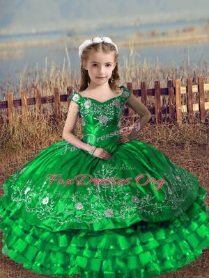 Off The Shoulder Sleeveless Satin and Organza Custom Made Pageant Dress Embroidery and Ruffled Layers Lace Up