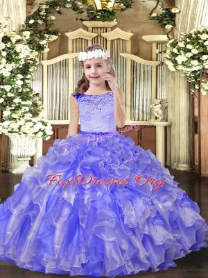 Floor Length Ball Gowns Sleeveless Lavender Little Girl Pageant Dress Zipper