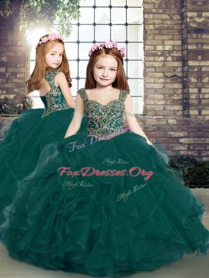 Admirable Peacock Green Ball Gowns Straps Sleeveless Tulle Floor Length Lace Up Beading and Ruffles Little Girls Pageant Dress Wholesale