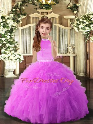 Cute Lilac Sleeveless Tulle Backless Kids Formal Wear for Party and Sweet 16 and Wedding Party