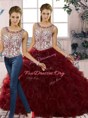 Unique Burgundy Two Pieces Organza Scoop Sleeveless Beading and Ruffles Floor Length Lace Up Quinceanera Gowns
