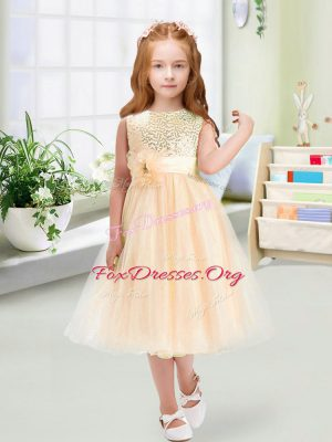 Enchanting Champagne Empire Sequins and Hand Made Flower Flower Girl Dress Zipper Organza Sleeveless Tea Length