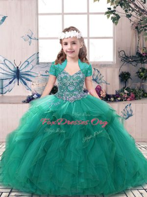Beauteous Turquoise Side Zipper Kids Formal Wear Beading Sleeveless Floor Length