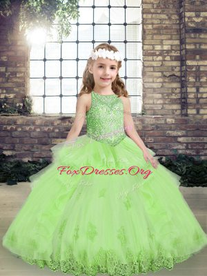 Popular Ball Gowns Scoop Sleeveless Tulle Floor Length Lace Up Lace and Appliques Pageant Dress for Teens