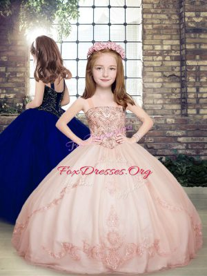 Best Pink Sleeveless Tulle Lace Up Kids Pageant Dress for Party and Wedding Party