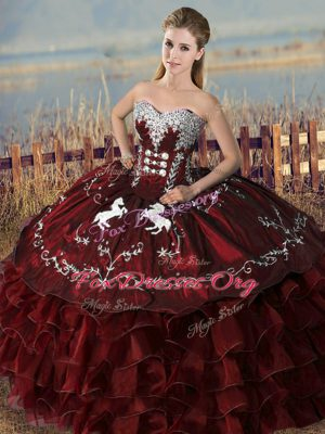 Stylish Burgundy Ball Gowns Sweetheart Sleeveless Satin and Organza Floor Length Lace Up Embroidery and Ruffles Quinceanera Gowns