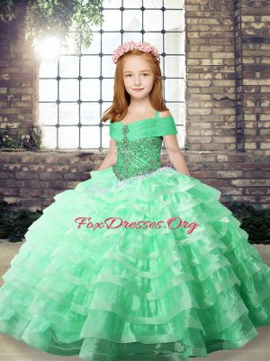 Apple Green Ball Gowns Organza Straps Sleeveless Beading and Ruffled Layers Floor Length Lace Up Girls Pageant Dresses
