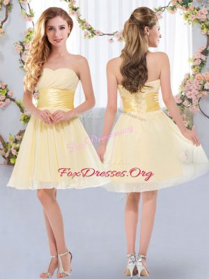 Excellent Yellow Empire Belt Bridesmaid Gown Lace Up Chiffon Sleeveless Mini Length