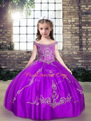 Elegant Purple Sleeveless Floor Length Beading Lace Up Pageant Gowns For Girls
