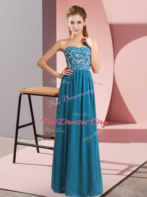 Sleeveless Chiffon Floor Length Lace Up Prom Dresses in Teal with Beading