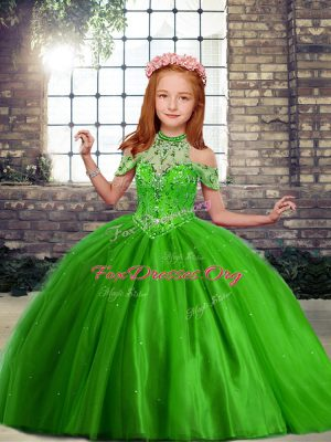 Green Sleeveless Floor Length Beading Lace Up Little Girls Pageant Gowns