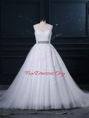 Attractive Sleeveless Brush Train Zipper Beading and Lace Bridal Gown