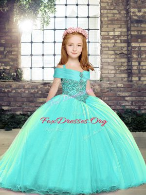 Aqua Blue Sleeveless Brush Train Lace Up Kids Formal Wear for Party and Sweet 16 and Wedding Party