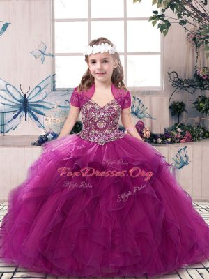 Perfect Fuchsia Kids Pageant Dress Party and Sweet 16 and Wedding Party with Beading and Ruffles Straps Sleeveless Lace Up