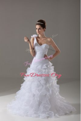 Custom Made Organza One Shoulder Sleeveless Brush Train Lace Up Ruffles and Hand Made Flower Bridal Gown in White