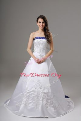 Ideal White Satin Lace Up Bridal Gown Sleeveless Brush Train Beading and Embroidery