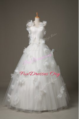 Superior Hand Made Flower Wedding Dress White Lace Up Sleeveless Floor Length