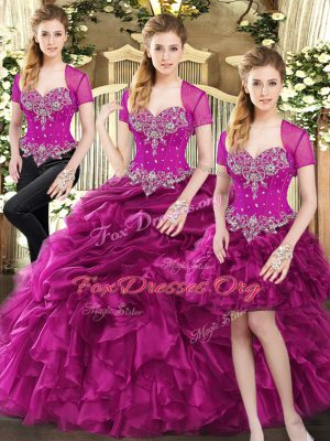 Latest Fuchsia Sleeveless Organza Lace Up Sweet 16 Quinceanera Dress for Military Ball and Sweet 16 and Quinceanera