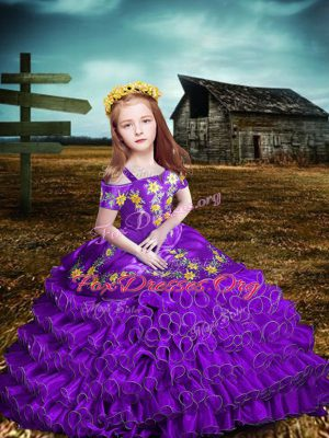 Ball Gowns Girls Pageant Dresses Purple Off The Shoulder Organza Short Sleeves Floor Length Lace Up