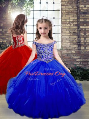 Dramatic Sleeveless Floor Length Beading Side Zipper Little Girl Pageant Gowns with Royal Blue