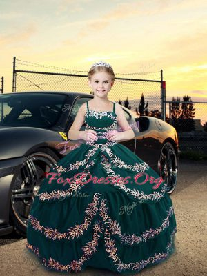Classical Teal Ball Gowns Satin Straps Sleeveless Embroidery Floor Length Lace Up Child Pageant Dress
