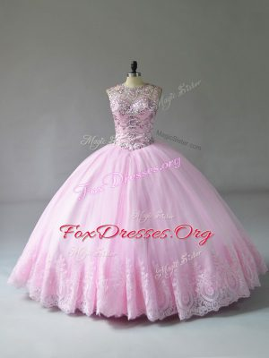 Sleeveless Floor Length Beading and Appliques Lace Up Quinceanera Dress with Baby Pink