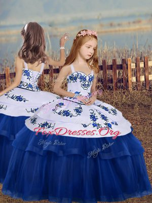 Admirable Blue Lace Up Straps Embroidery Girls Pageant Dresses Tulle Sleeveless