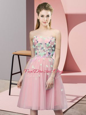 Artistic Pink Sleeveless Tulle Lace Up Wedding Party Dress for Wedding Party