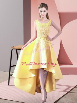 Perfect Lace Bridesmaid Gown Yellow Zipper Sleeveless High Low