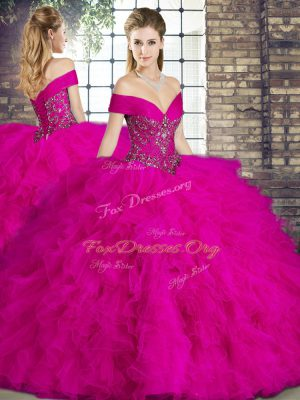 Cute Floor Length Lace Up Quince Ball Gowns Fuchsia for Military Ball and Sweet 16 and Quinceanera with Beading and Ruffles