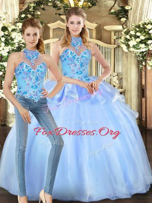 Popular Floor Length Lace Up Quinceanera Dress Blue for Military Ball and Sweet 16 and Quinceanera with Embroidery