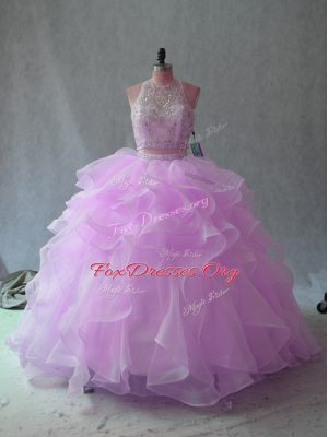 New Style Sleeveless Backless Floor Length Beading and Ruffles Vestidos de Quinceanera