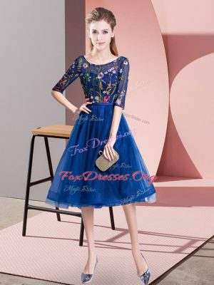 Fantastic Royal Blue Tulle Lace Up Quinceanera Dama Dress Half Sleeves Knee Length Embroidery