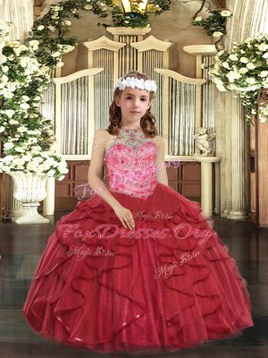 Beading and Ruffles Little Girls Pageant Dress Red Lace Up Sleeveless Floor Length